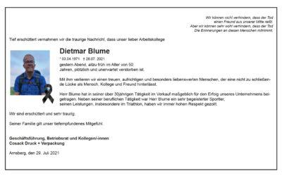 Ruhe in Frieden Dietmar Blume